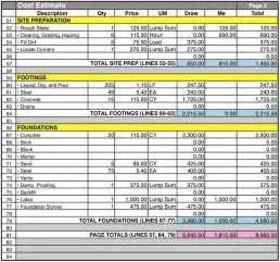 Estimating Price by Home Construction Cost Estimate Sheet