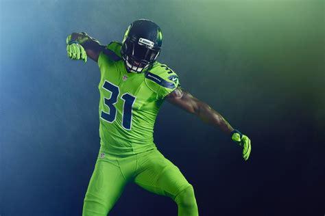 nfl reveals action green color rush uniform  seahawks