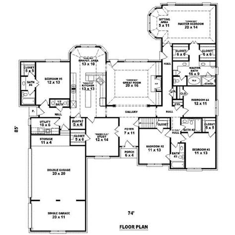 House Plans With Big Bedrooms by Big 5 Bedroom House Plans 5 Bedrooms 4