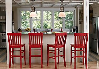 red bar stools cottage kitchen