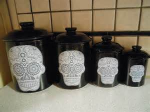 black kitchen canister sets sugar skull canister set