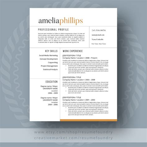 Modern Resume Design by Modern Resume Template Resume Templates Creative Market