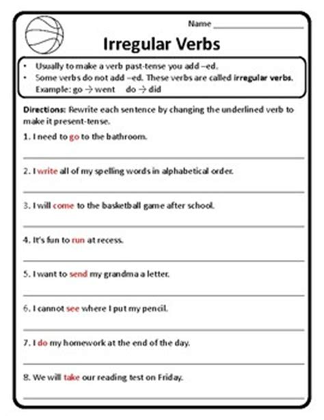 past and present tense irregular verbs worksheet irregular
