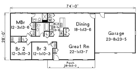 Ranch Style House Plan 3 Beds 2 00 Baths 1400 Sq/Ft Plan