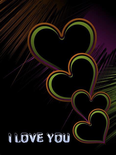 colorful hearts  black backgrounds elsoar