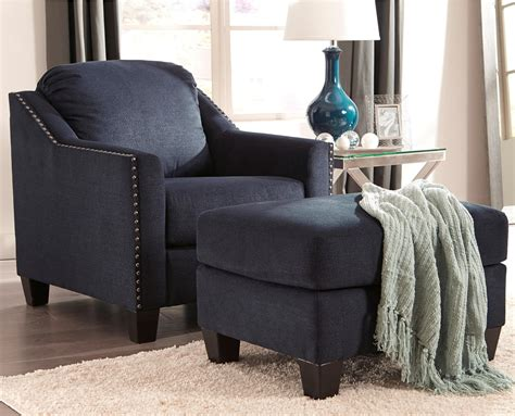 Nailhead-studded Chair And Ottoman Set By Benchcraft