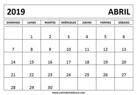 calendario abril imprimir calendar printable