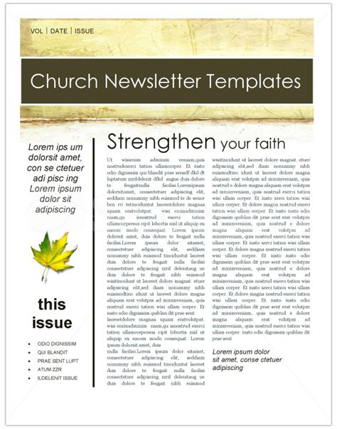 Free Christian Newsletter Templates by Fall Leaves Church Newsletter Template Template