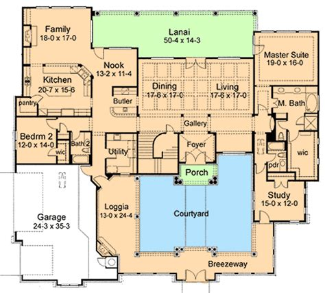 courtyard home plans courtyard house plan 16854wg 1st floor master