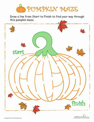 pumpkin maze worksheet educationcom