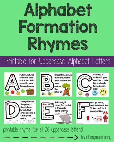 alphabet formation rhymes uppercase alphabet poster
