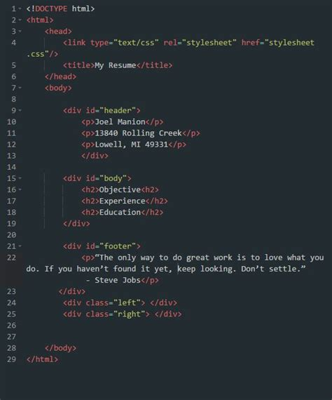 Resume Css Code by Html Css Mr Manion S Classroom