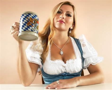 sexy girls of oktoberfest beer and cleavage in their