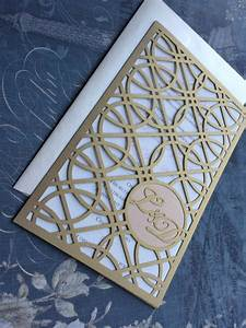 laser cut wedding invitations monogram art deco rings With laser cut wedding invitations with initials