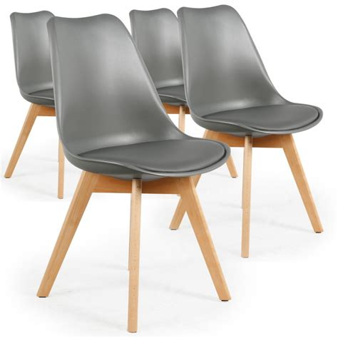 chaise cuir gris chaise scandinave cuir simili gris ericka lot de 4 pas