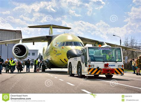 Newest Transport Aircraft Antonov An178 Is Towed To