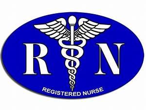 3x5 inch BLUE Oval RN Registered Nurse Caduceus Logo ...