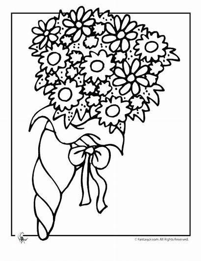Coloring Pages Bouquet Flower Cake Colouring Books