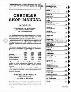 1954 Chrysler Repair Shop Manual Reprint