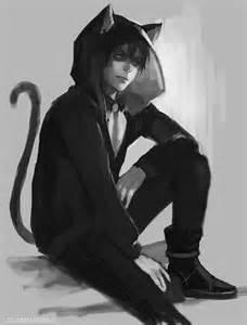 Anime Cat Boy with Black Hair