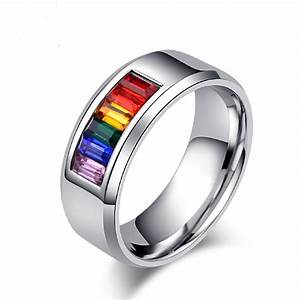 trendy stainless steel finger ring rainbow rhinestone ring With gay pride wedding rings