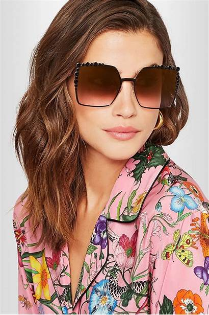 Fendi Sunglasses Square Eye Embellished Frame Metal