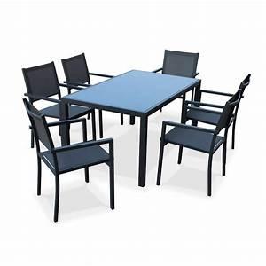 Salon De Jardin Textilene : salon de jardin capua en aluminium table 150cm 6 ~ Dailycaller-alerts.com Idées de Décoration