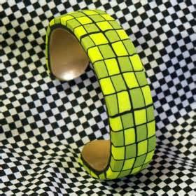 Lime Green Cuff Bracelet Polymer Clay Etc