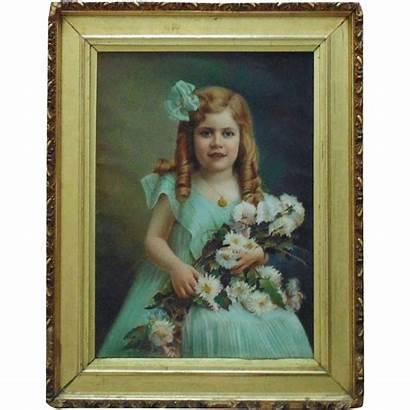 Victorian Child Portrait Painting Pastel Flowers Antique