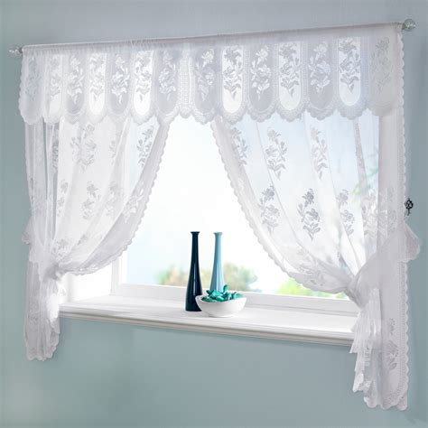 traditional floral jaquard lace susan window curtain set