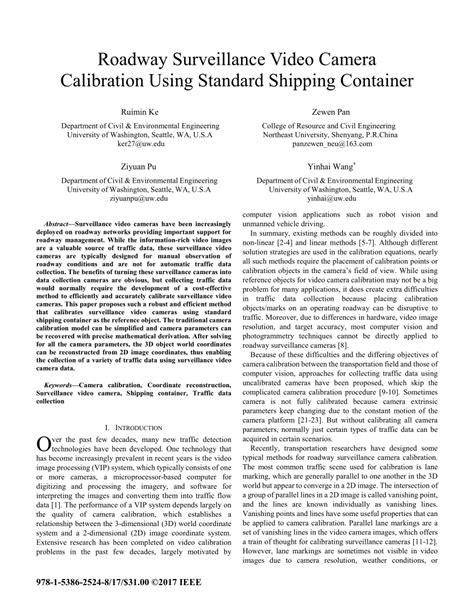 (PDF) Roadway surveillance video camera calibration using