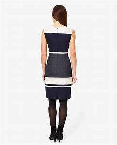 Phase Eight Blanche Colourblock Dress Navy/Grey 58% Polyester Work Dresses Uk 203954938