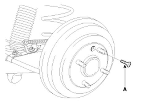 service manual rear drum removal 2012 kia soul kia rio removal rear drum brake brake system kia rio ub 2012 2019 service manual