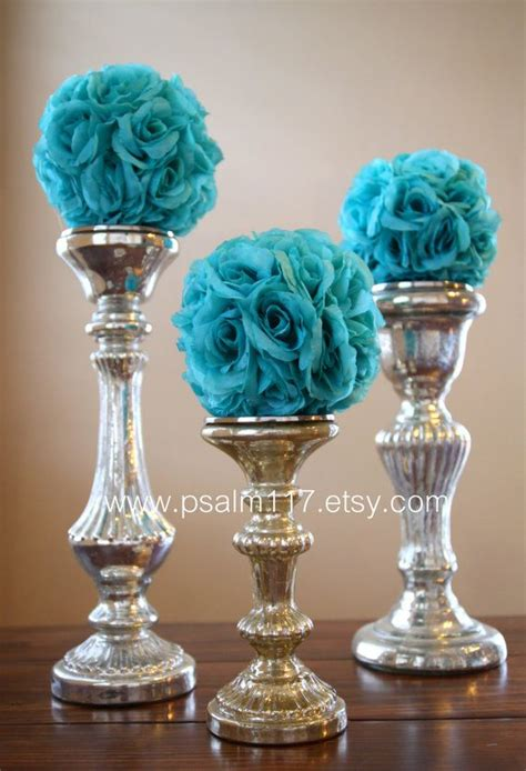 turquoise and silver decorations wedding pomander flower balls on pinterest flower ball kissing ball and hanging flowers