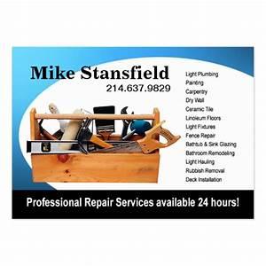 Home repair handyman large business cards pack of 100 for Home repair business cards
