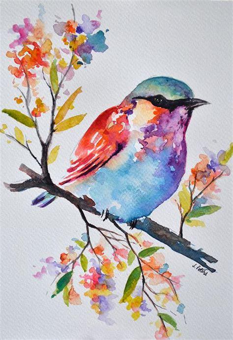 Original Watercolor Bird Painting Pastel Colored Rainbow