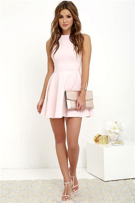 Cute Light Pink Dress - Skater Dress - Funnel Neck Dress ...