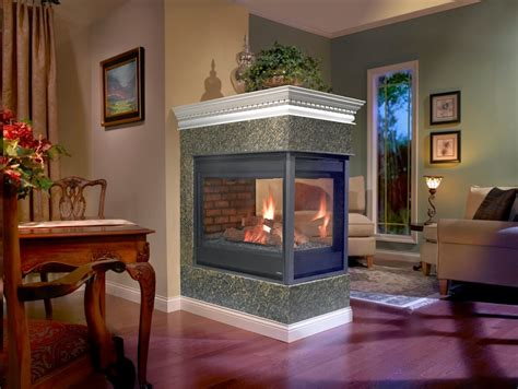 stone brick  peninsula fireplaces hearth  home