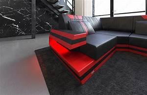 Sofa Schwarz Rot : designersofa ravenna u leder wohnlandschaft mit led beleuchtung usb schwarz rot ebay ~ Markanthonyermac.com Haus und Dekorationen