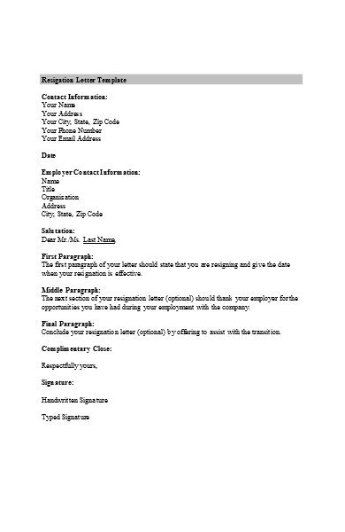 FREE 6+ E-mail Resignation Letters in PDF   MS Word