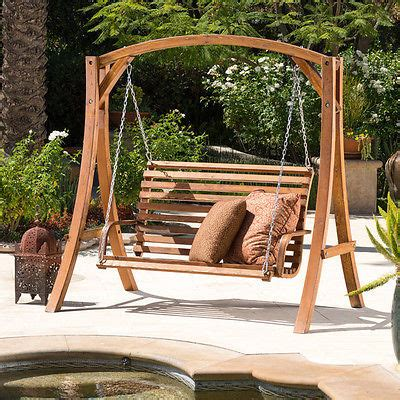 wood porch swing outdoor swinging seat bench chair