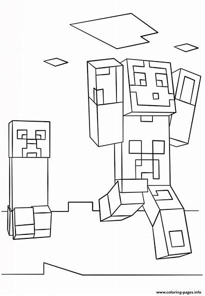 Minecraft Creeper Coloring Steve Pages Printable Ghast