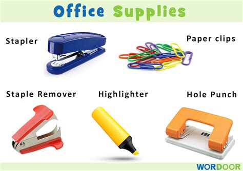 Office Supplies Used by Wordoor Vocabulary Useful Office Supplies