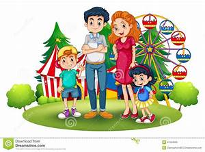 A Family At The Amusement Park Stock Vector - Image: 41504095