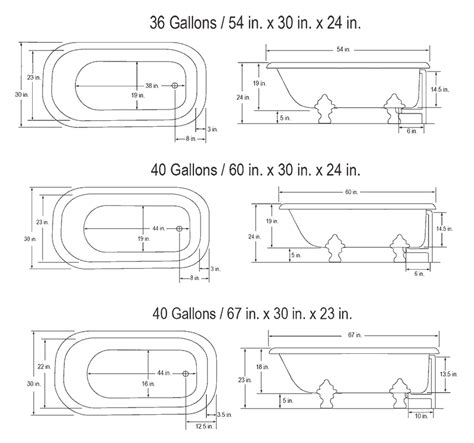 Clawfoot Tub Sizes by Classic Freestanding Bathtubs