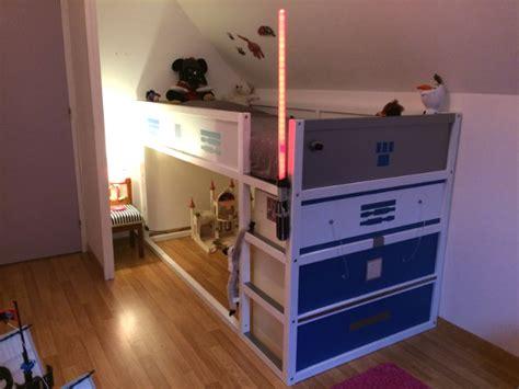 meuble bas cuisine blanc un lit enfant kura transformé en château fort