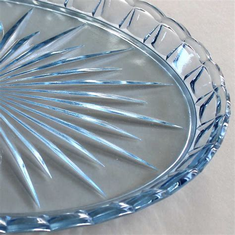 Vintage 1930s Blue Pressed Glass Tray   The Laurels in Lewes