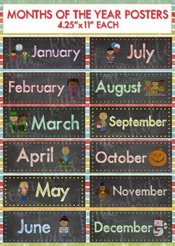 bright months   year chalkboard posters  catherine
