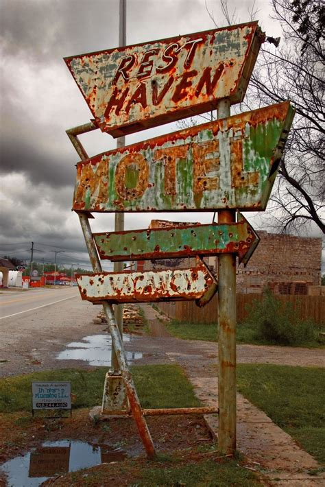 rust signs rusty abandoned sign never haven oklahoma afton buildings neon metal station sleeps places essence curtains motel gas blowing