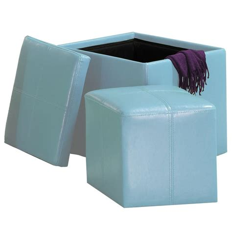 Blue Ottoman Storage by Homesullivan Blue Storage Ottoman 404723bl The Home Depot